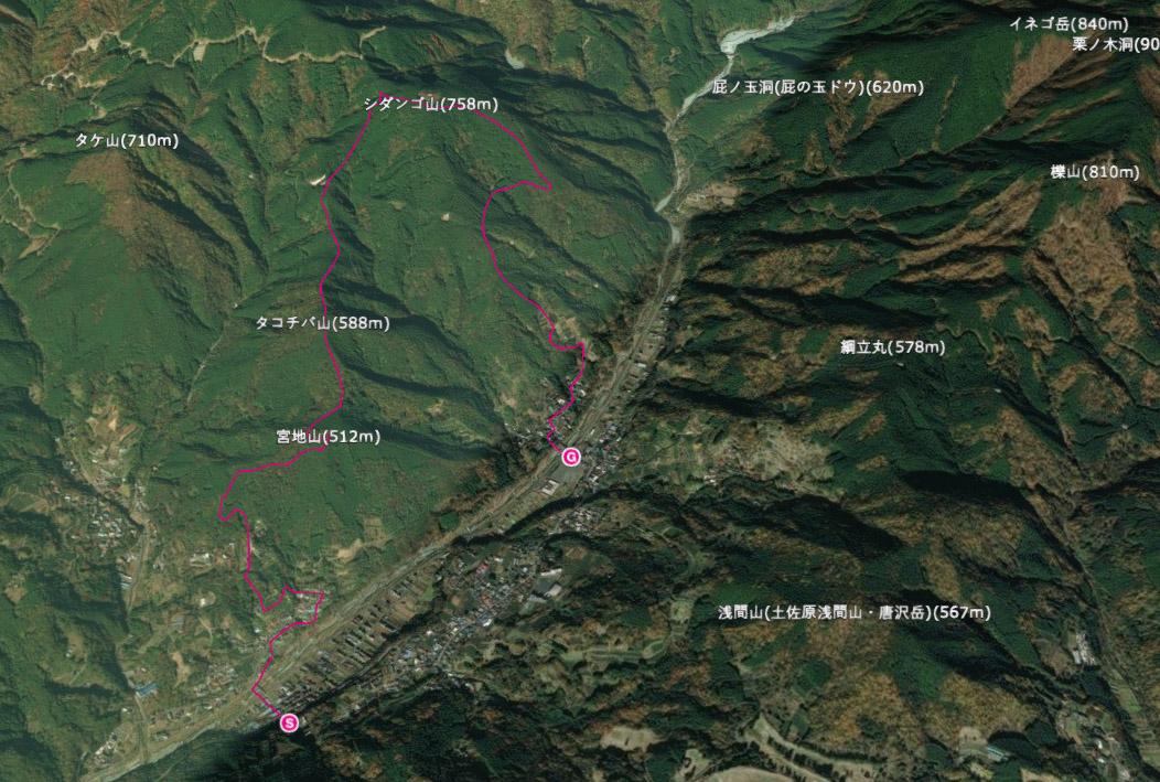 [山行計画]田代向バス停からシダンゴ山までのコース